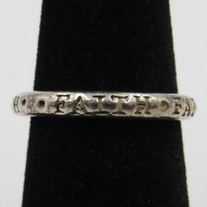 Size 5.75 Sterling Silver Rustic Thick Faith Band